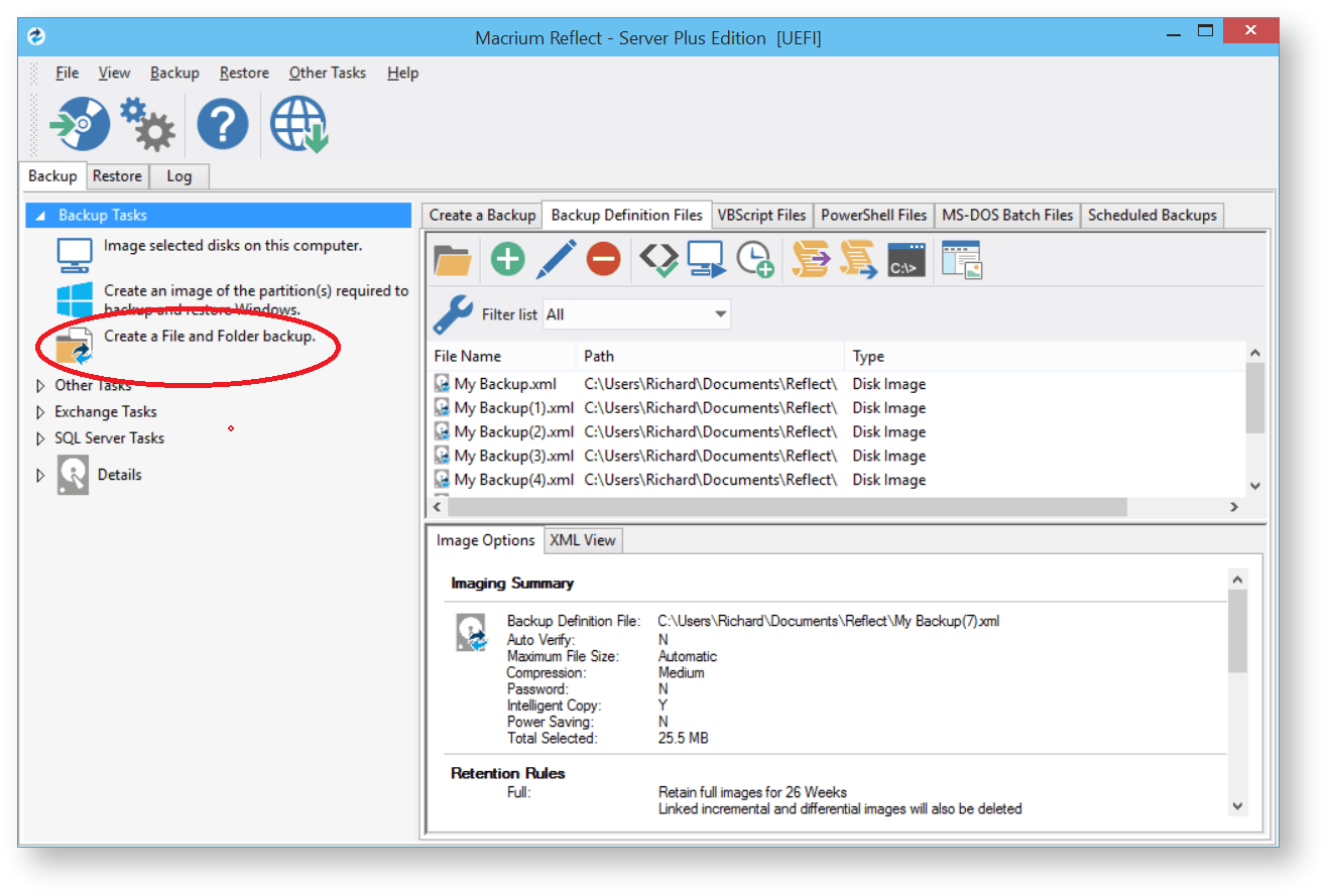Create back-up files at a different location