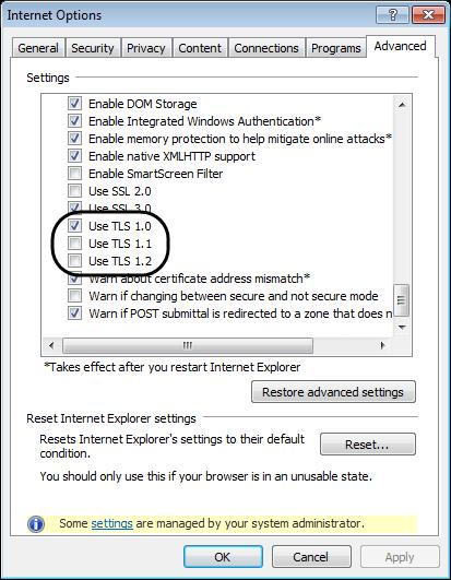 Reset Internet Explorer Settings