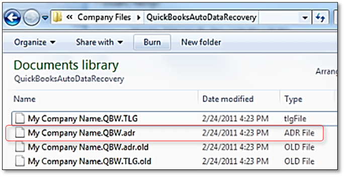 Rename ADR file as QuickBooks Working file