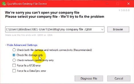 looking for the company file that needs repairing in quickbooks file doctor
