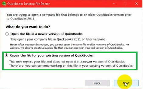 repair the file in qb file doctor
