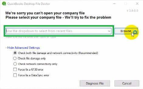 select your company file in quickbooks desktop file doctor