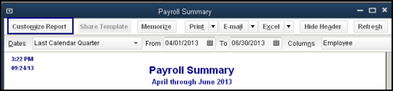 QuickBooks payroll summary report