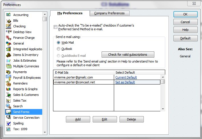 quickbooks email service on webmail
