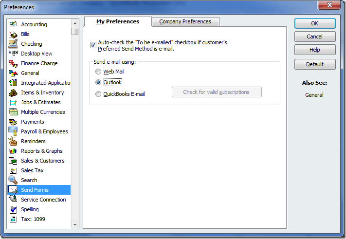 preferences in quickbooks email setup