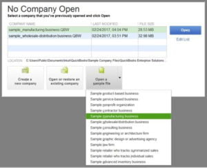 Opening a sample company file