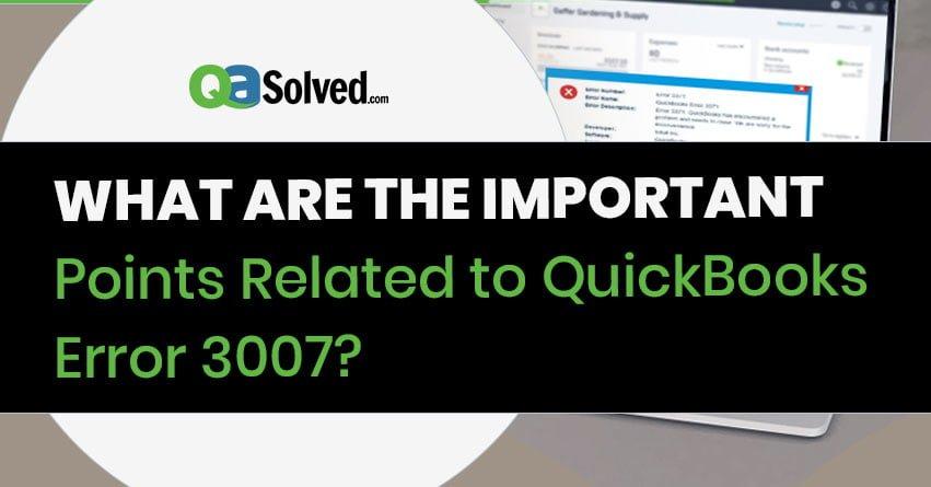 quickbooks error 3007