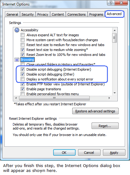 MS Internet Explorer Settings are Set correctly