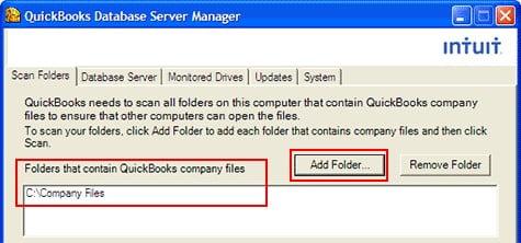 adding folders in quickbooks database server manager