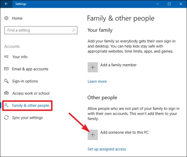 adding new admin in windows 10