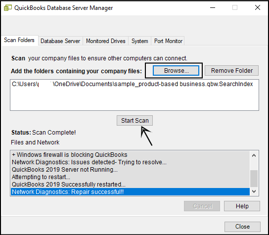 scan company file in quickbooks database server manager