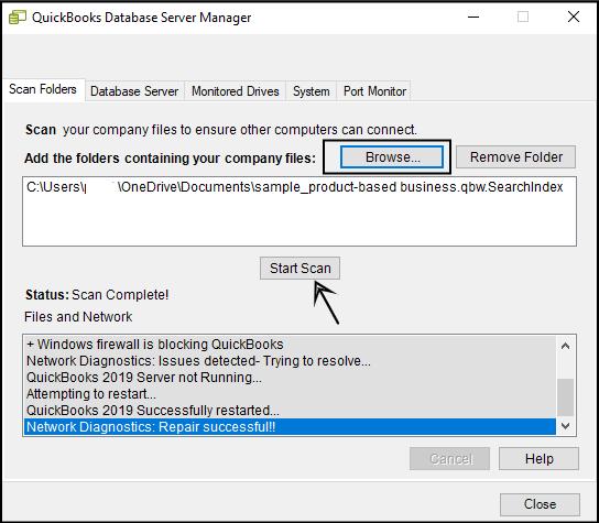 scanning in quickbooks database server manager