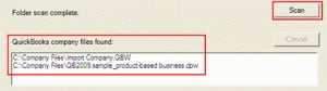 select the scan option in quickbooks database server manager