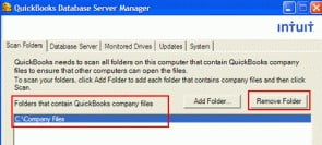 selecting remove folder option in qb database server manager