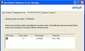 using monitored drive features in quickbooks database server manager