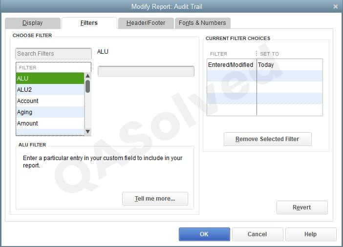 filters in quickbooks audit trail
