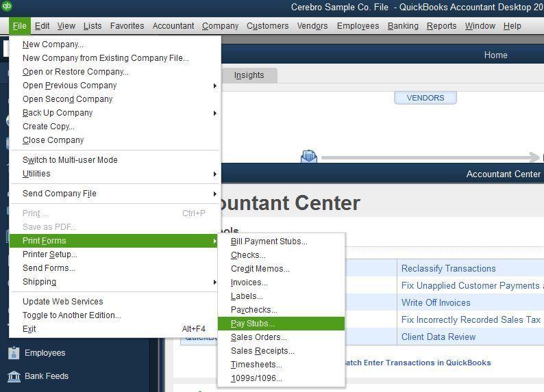 Print pay stubs from Desktop file menu