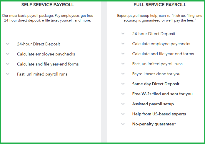 QuickBooks Payroll options