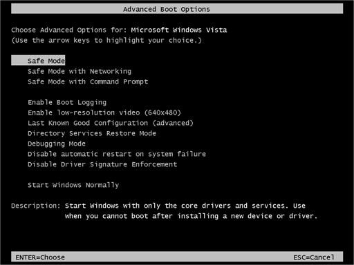 Restart Computer in the Safe Mode