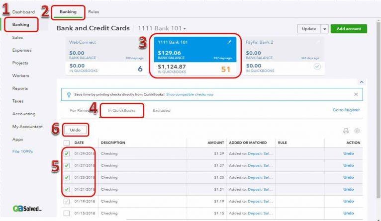 banking in quickbooks online