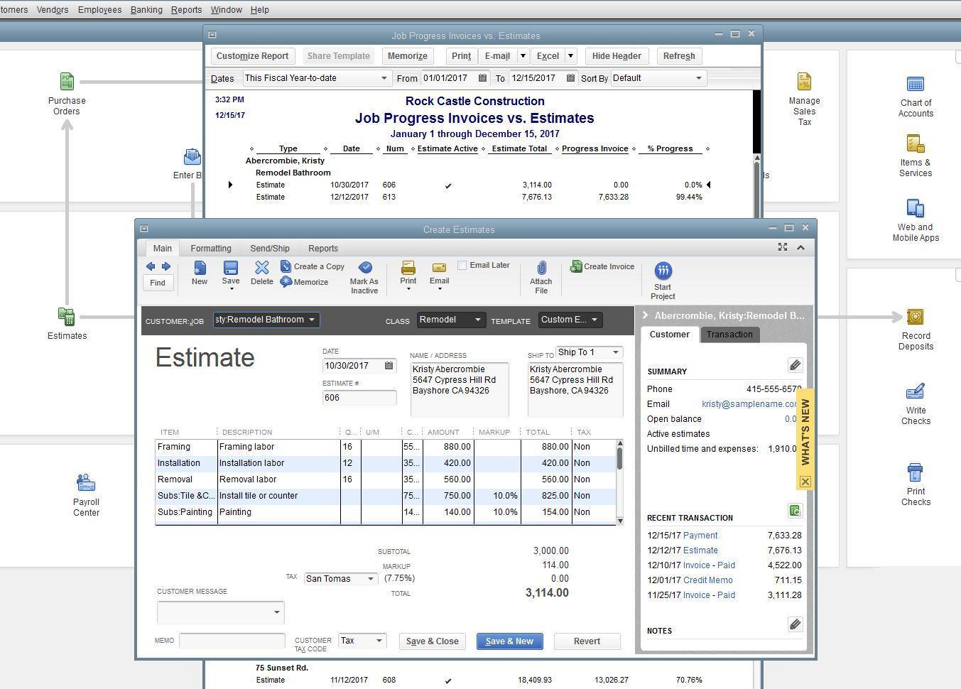 Estimates & Progress Invoicing