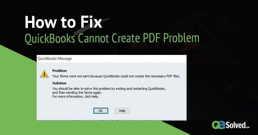 quickbooks cannot create pdf