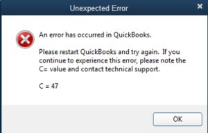 QuickBooks Error C = 47