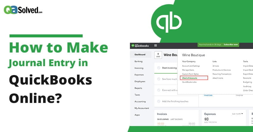 quickbooks journal entry