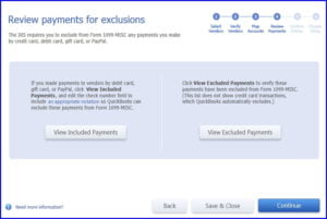 Review payments for exclusions