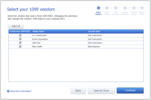 Select vendors requiring 1099-MISC forms