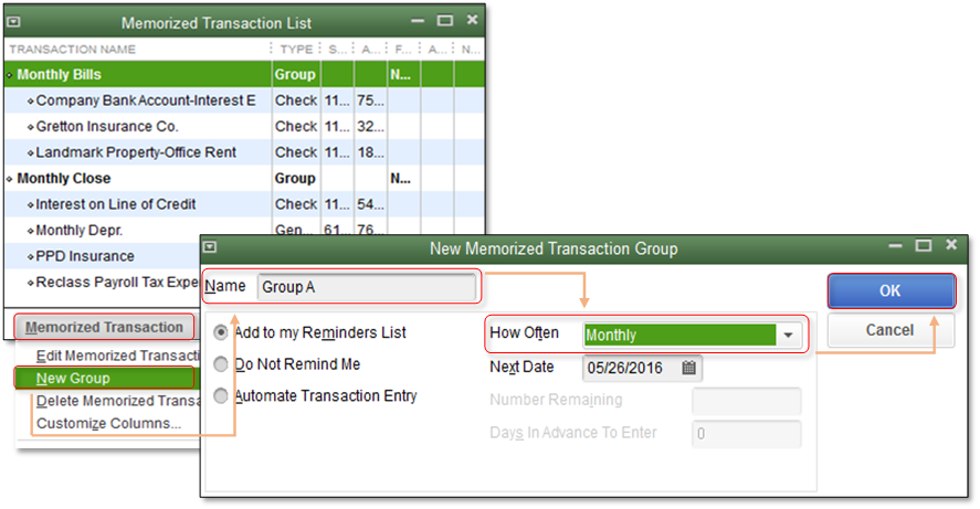Add a Transaction to a Memorized Transaction Group