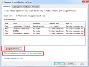 change the permissions of the windows temp folder