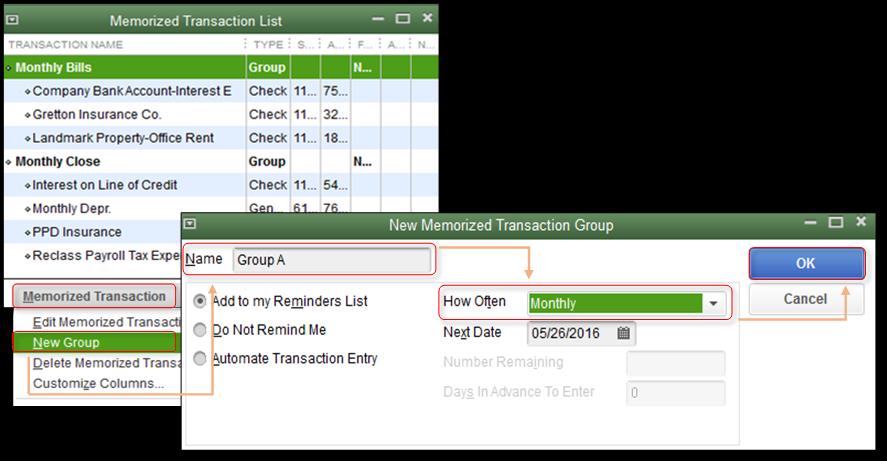 Create a Memorized Transaction Group