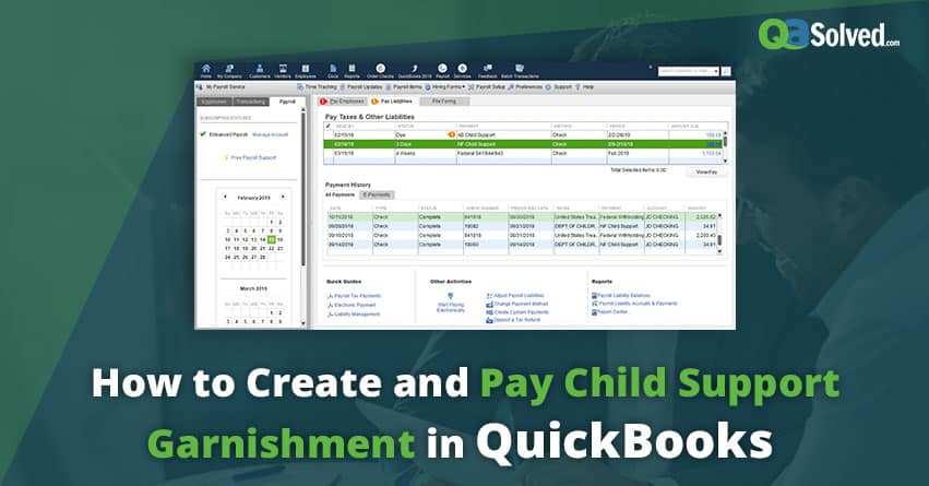 QuickBooks child support