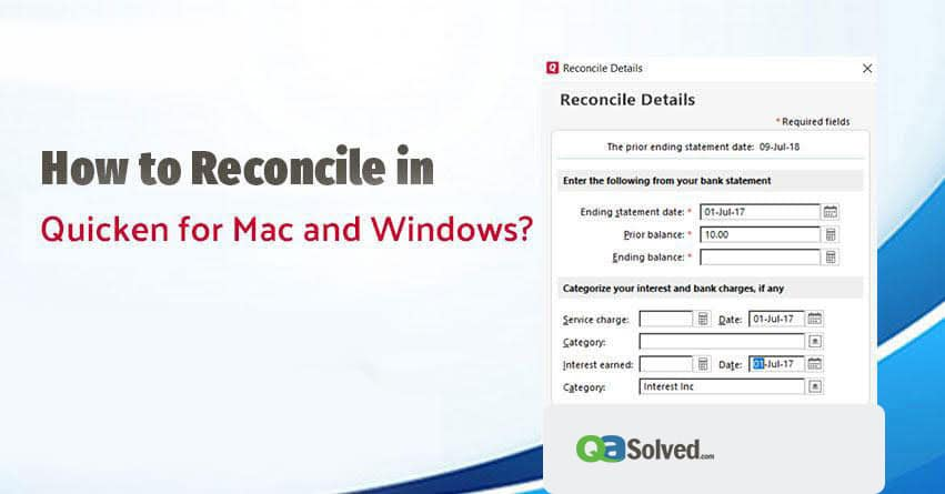 how to reconcile in quicken
