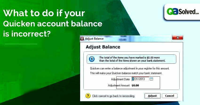 quicken account balance incorrect