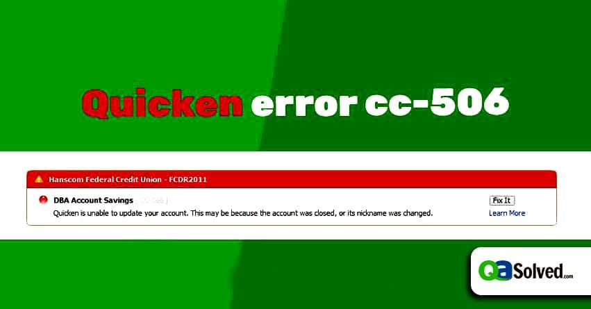 quicken error cc-506