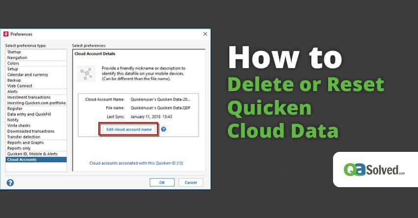 delete quicken cloud data