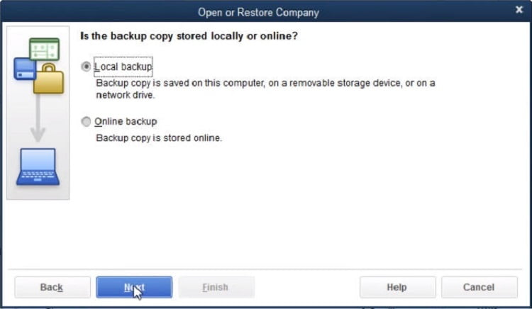 select the local backup