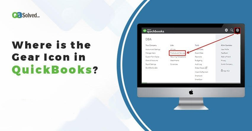 where is the gear icon in quickbooks